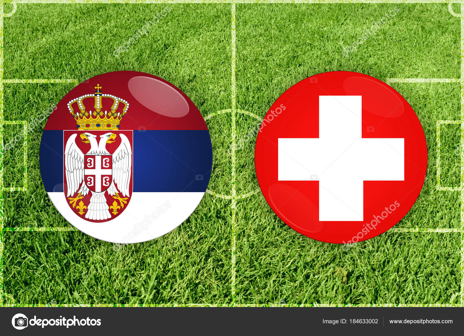 Serbia Vs Switzerland Football Match Stock Photo