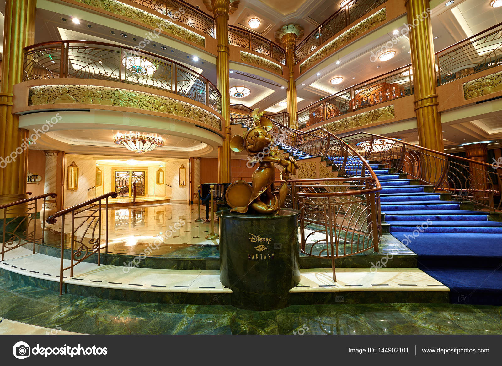 Interior Of Main Hall In Disney Cruise Ship Stock Photo