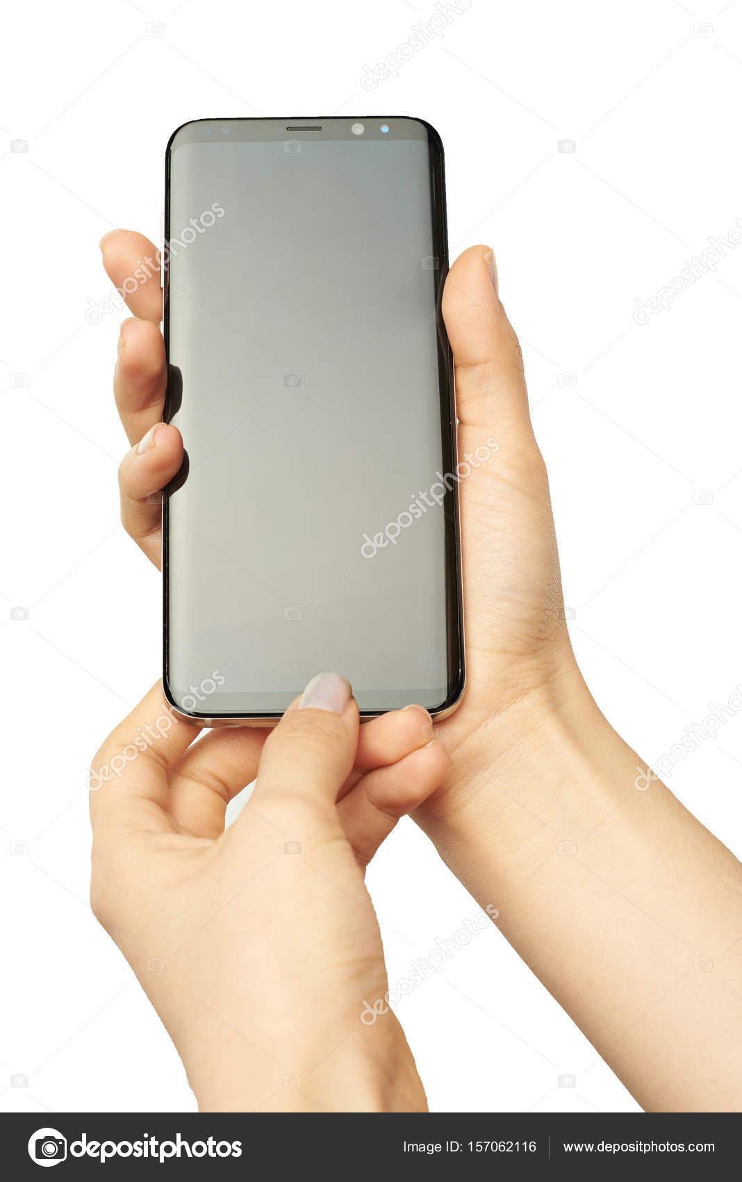 a7837fdcce Nova york, EUA - 13 de junho, s8 2017:Samsung mais na mão isolado no fundo  branco — Foto de dimarik