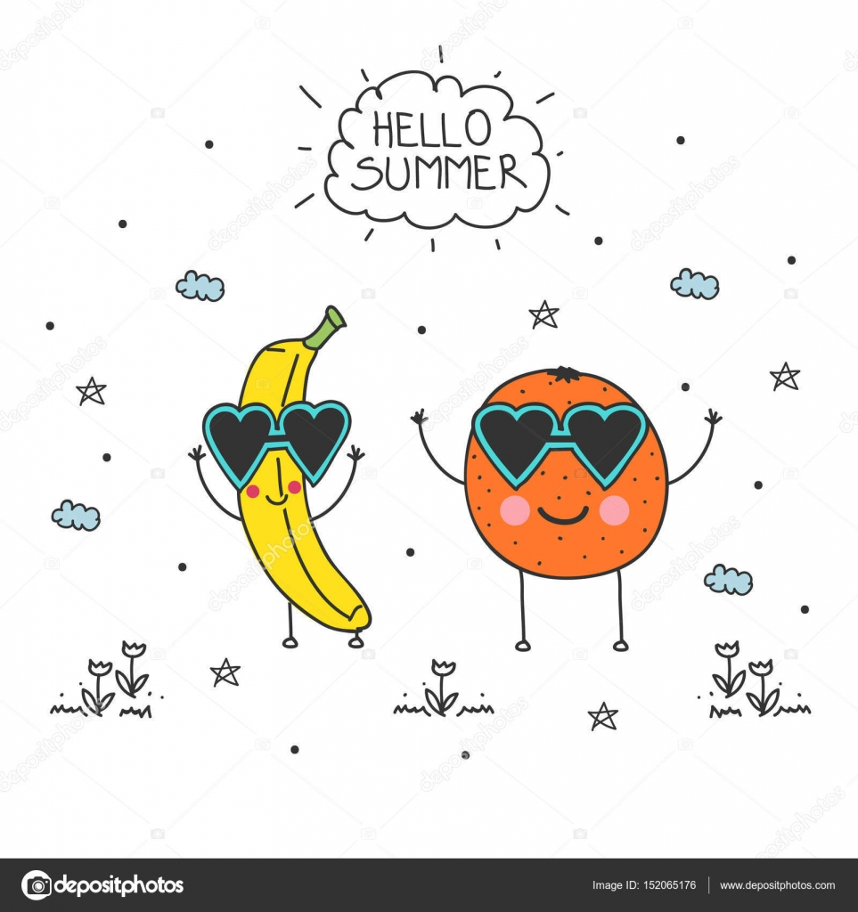Hello Summer And Doodle Banana And Orange Stock Vector