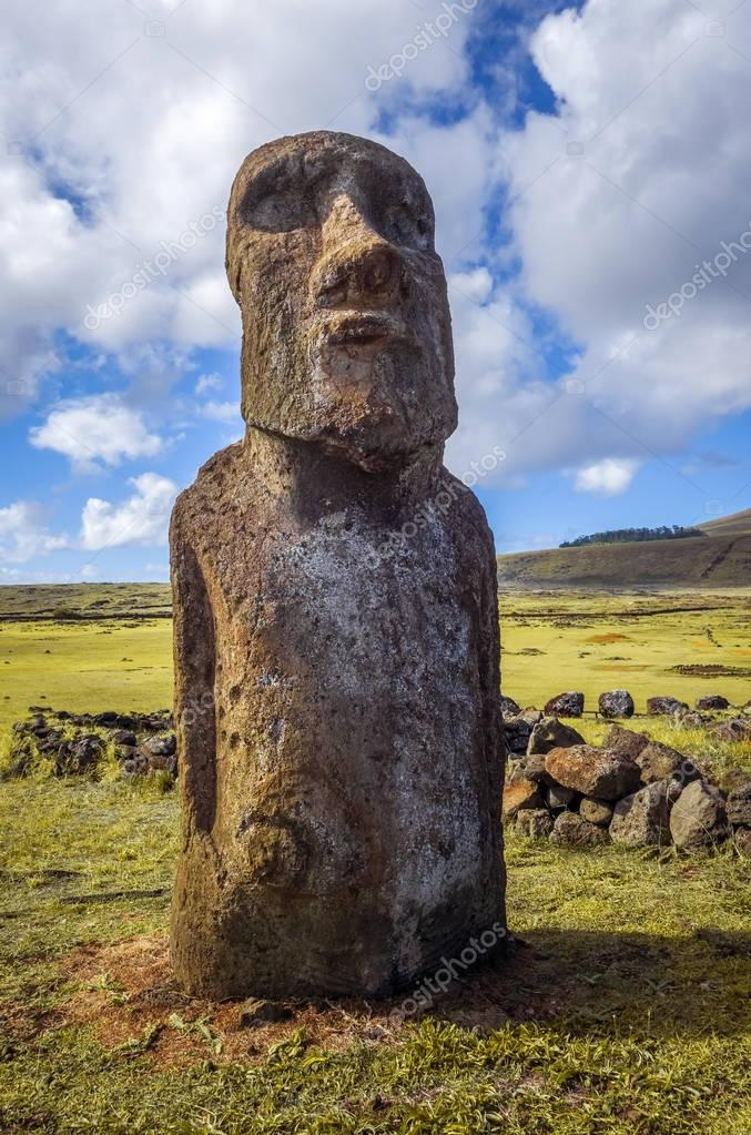 Silhouette of two of 15 moai statues at ahu tongariki