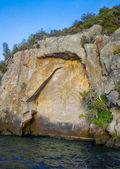 Fotografie Maorština skalní rytiny, jezero Taupo, Nový Zéland
