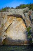 Fényképek Maori rock-faragványok, Taupo Lake, Új-Zéland