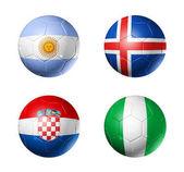 Fotografie Russia football 2018 group D flags on soccer balls