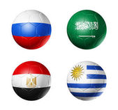 Fotografie Russia football 2018 group A flags on soccer balls