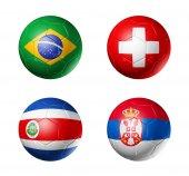 Fotografie Russia football 2018 group E flags on soccer balls