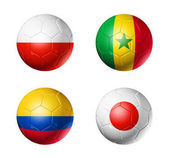 Fotografie Russia football 2018 group H flags on soccer balls