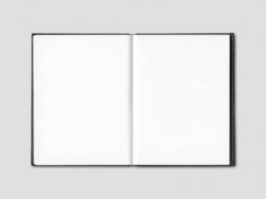 Blank open notebook isolated on grey