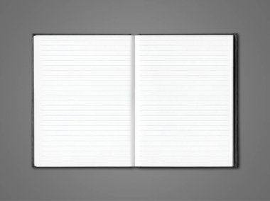 Blank open lined notebook mockup isolated on dark grey stock vector