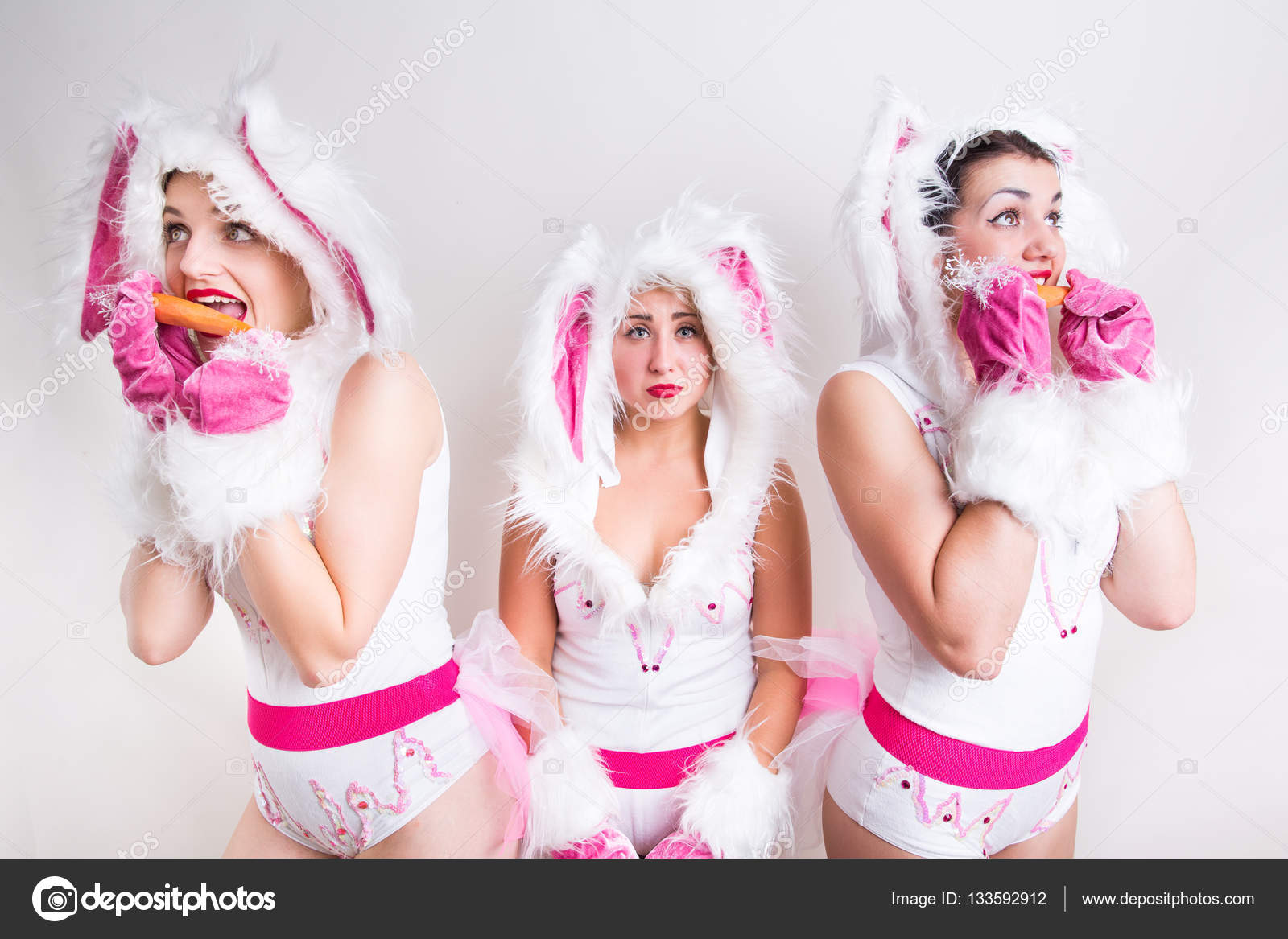 Three girls in rabbit costume eating carrot u2014 Stock Photo  sc 1 st  Depositphotos : girls rabbit costume  - Germanpascual.Com