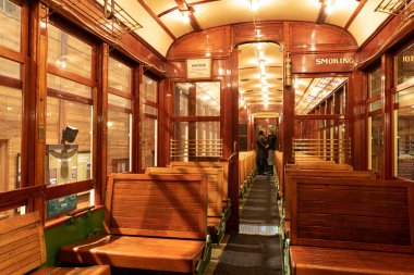 Interior of the old historic tram from early 20th century.