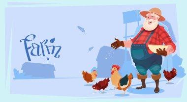 Farmer Feed Chickens