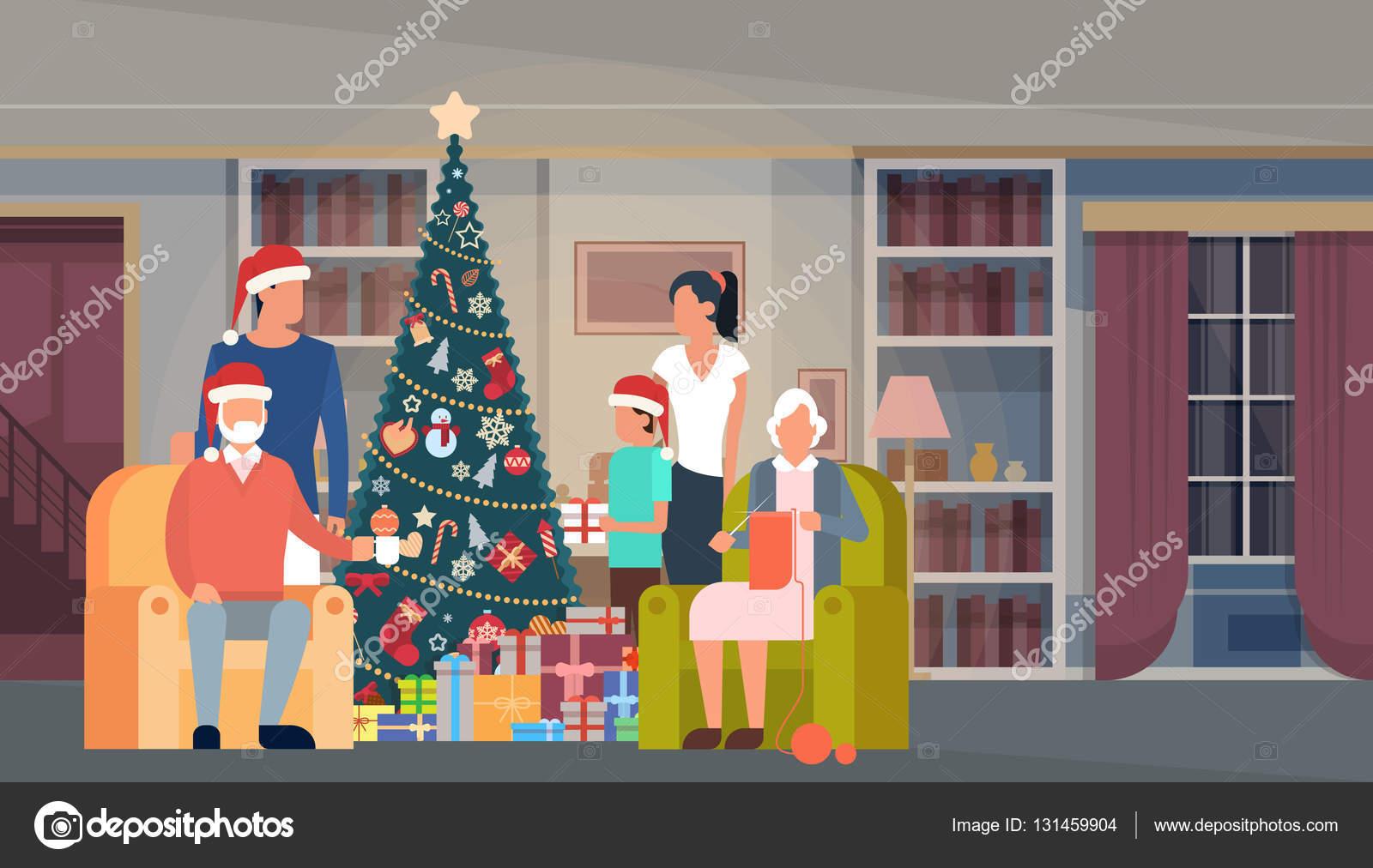 Große Familie Weihnachten grün Baum mit Geschenk Box Haus ...