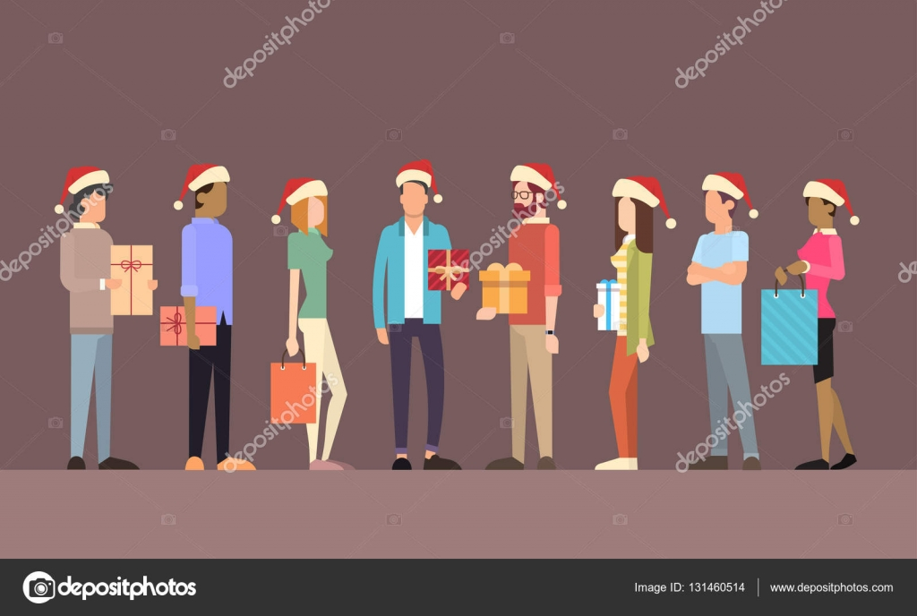 1cde960940f12 Businesspeople Celebrate Merry Christmas And Happy New Year Business People  Team Santa Hat Flat Vector Illustration — Vector by ...
