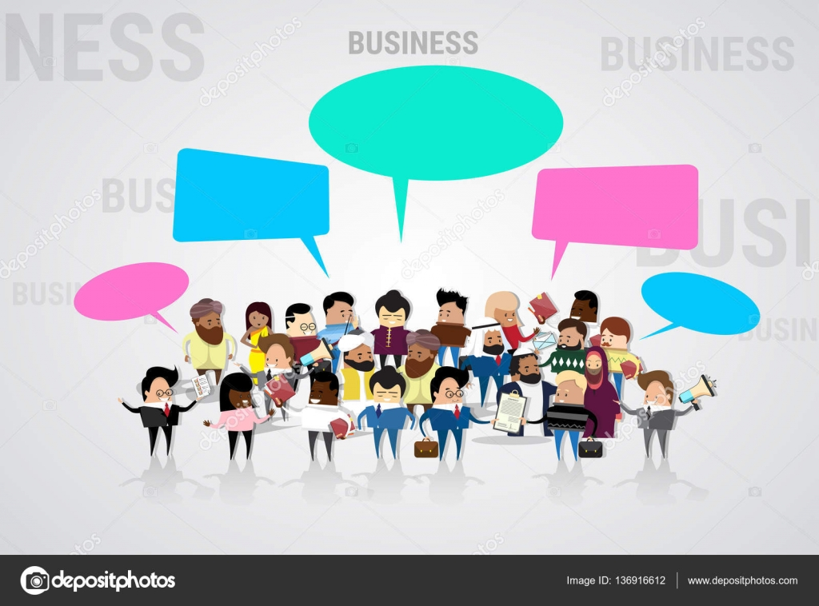 Grupo De Negocios Personas Dibujos Animados Mezcla Raza