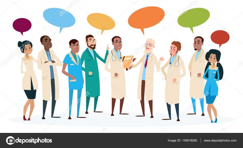Groep mediale artsen Team ziekenhuis dingen met chatbox ...