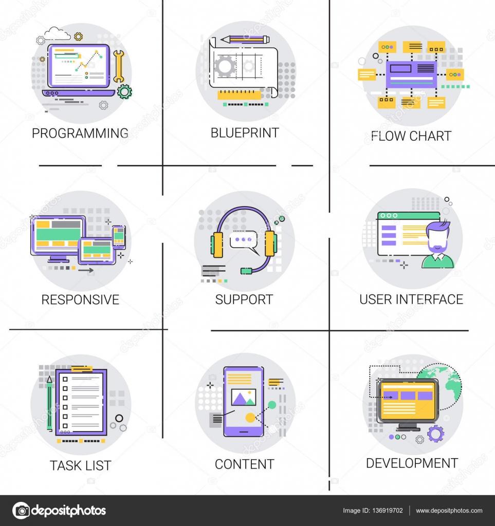 Equipo de desarrollo de la interfaz de software aplicacin conjunto equipo de desarrollo de la interfaz de software aplicacin conjunto de iconos de contenido de tecnologa malvernweather Choice Image