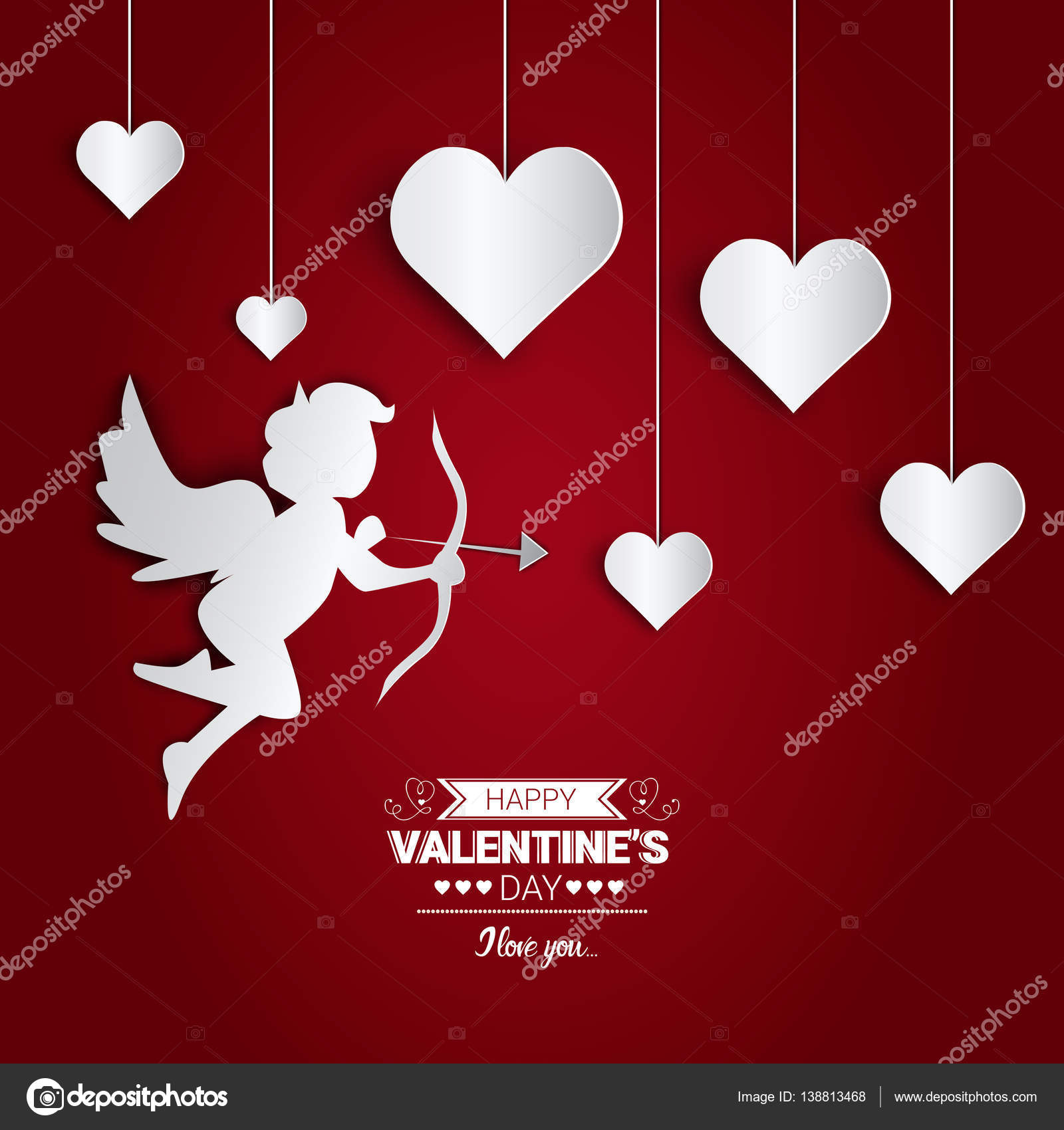 Valentine Day Gift Card Holiday Love Herzform Stockvektor Mast3r