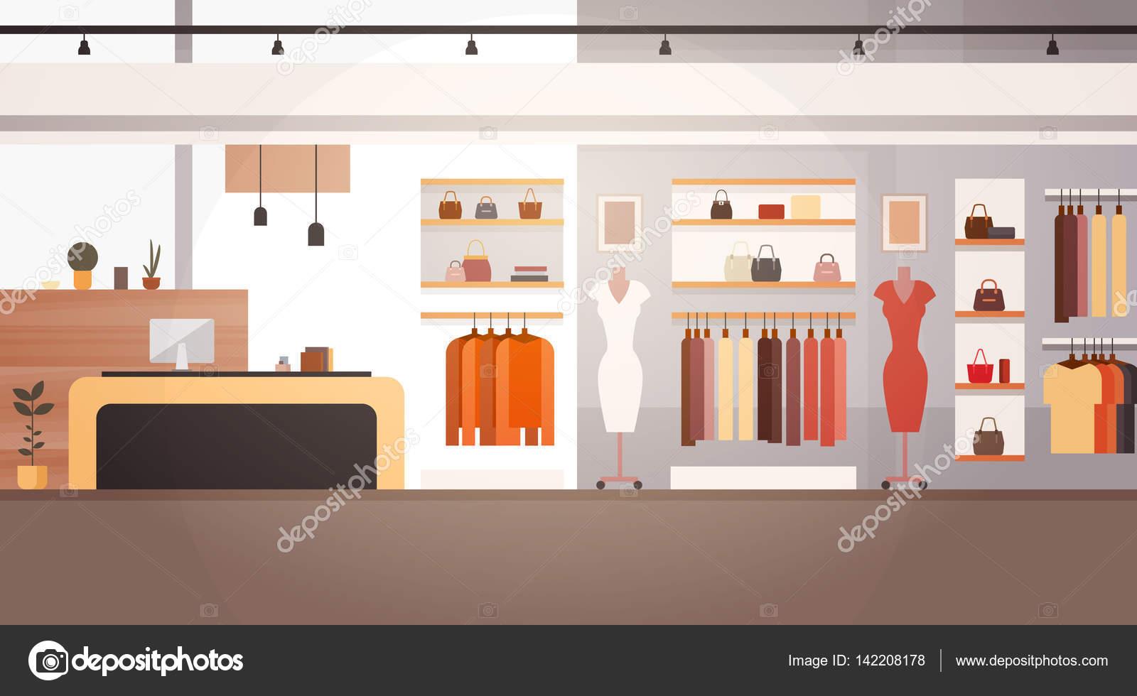 dcaf7d96b880 Moda grande loja Super mercado roupa feminina centro comercial Interior  Banner com cópia espaço — Vetores