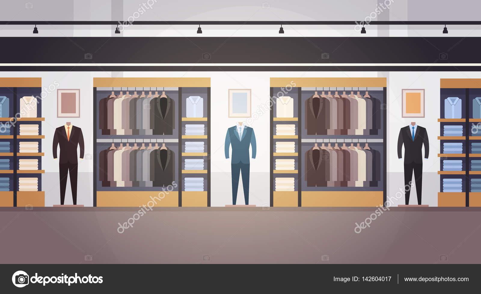 5d37f333cca6 Μεγάλη μόδα κατάστημα σούπερ μάρκετ Ρούχα ανδρικά εμπορικό εσωτερικό πανό  με αντίγραφο χώρου — Διανυσματικό Αρχείο