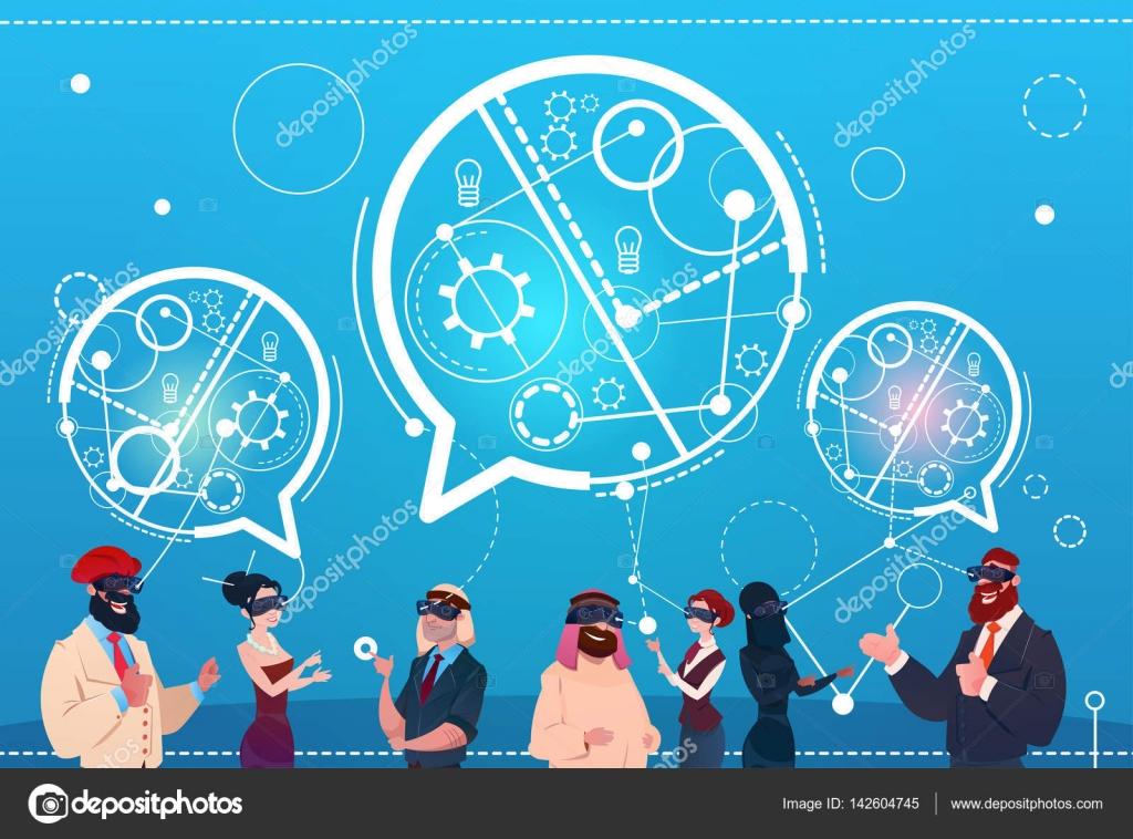Mix verseny People Group viselni Digital Reality szemüveg Chat buborékok  szociális hálózati kommunikáció fogalma — Stock 58255c9ffe