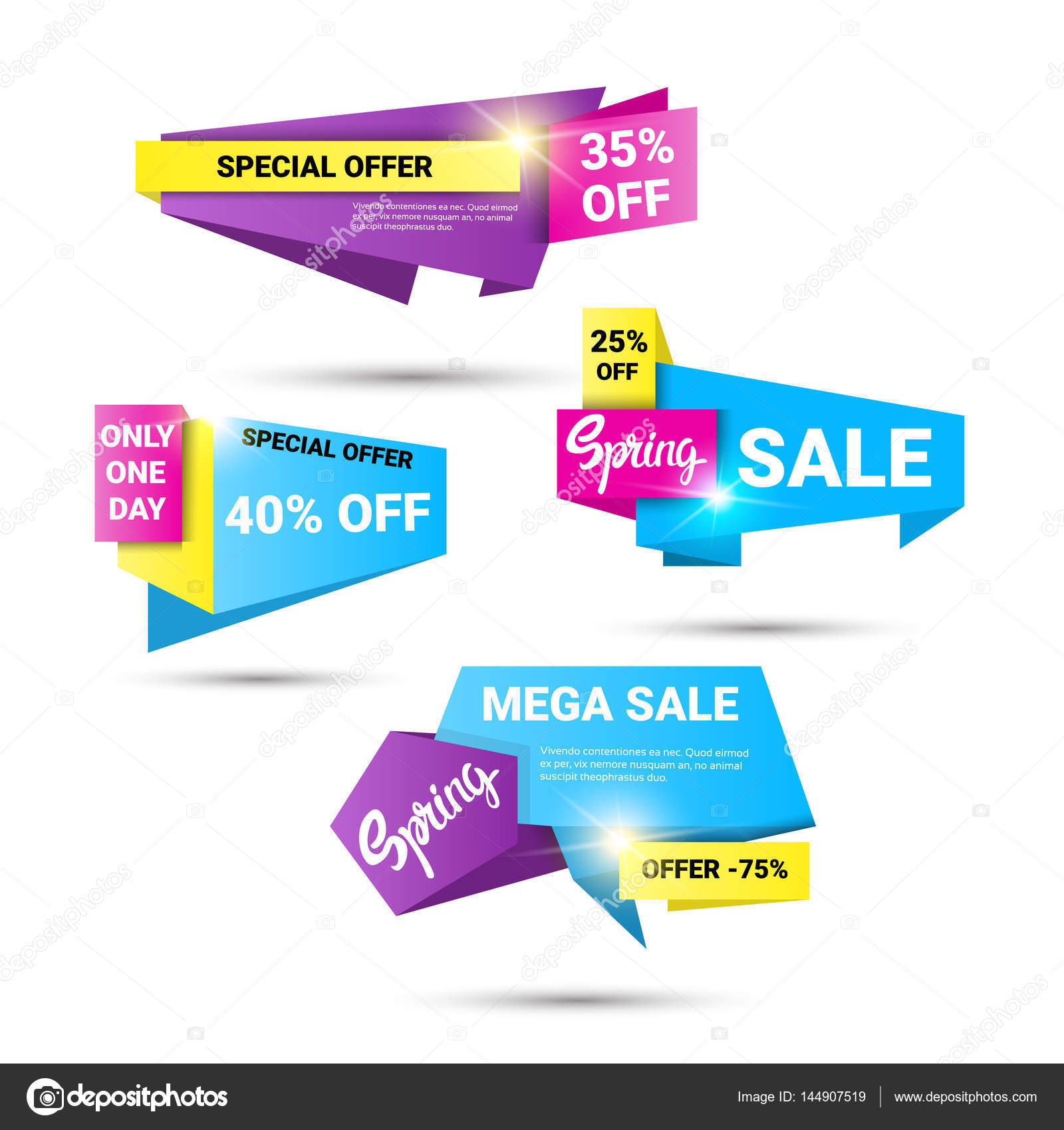 205d68a463e Spring Sale Shopping Special Offer Holiday Banner Set — Stock Vector ...