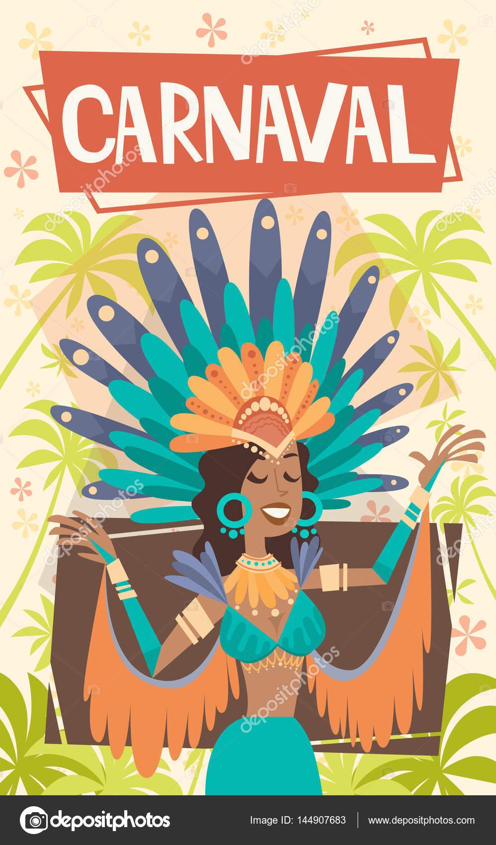 3df8619acbae Brasil Carnaval mujer latina llevar traje brillante tradicional río ...