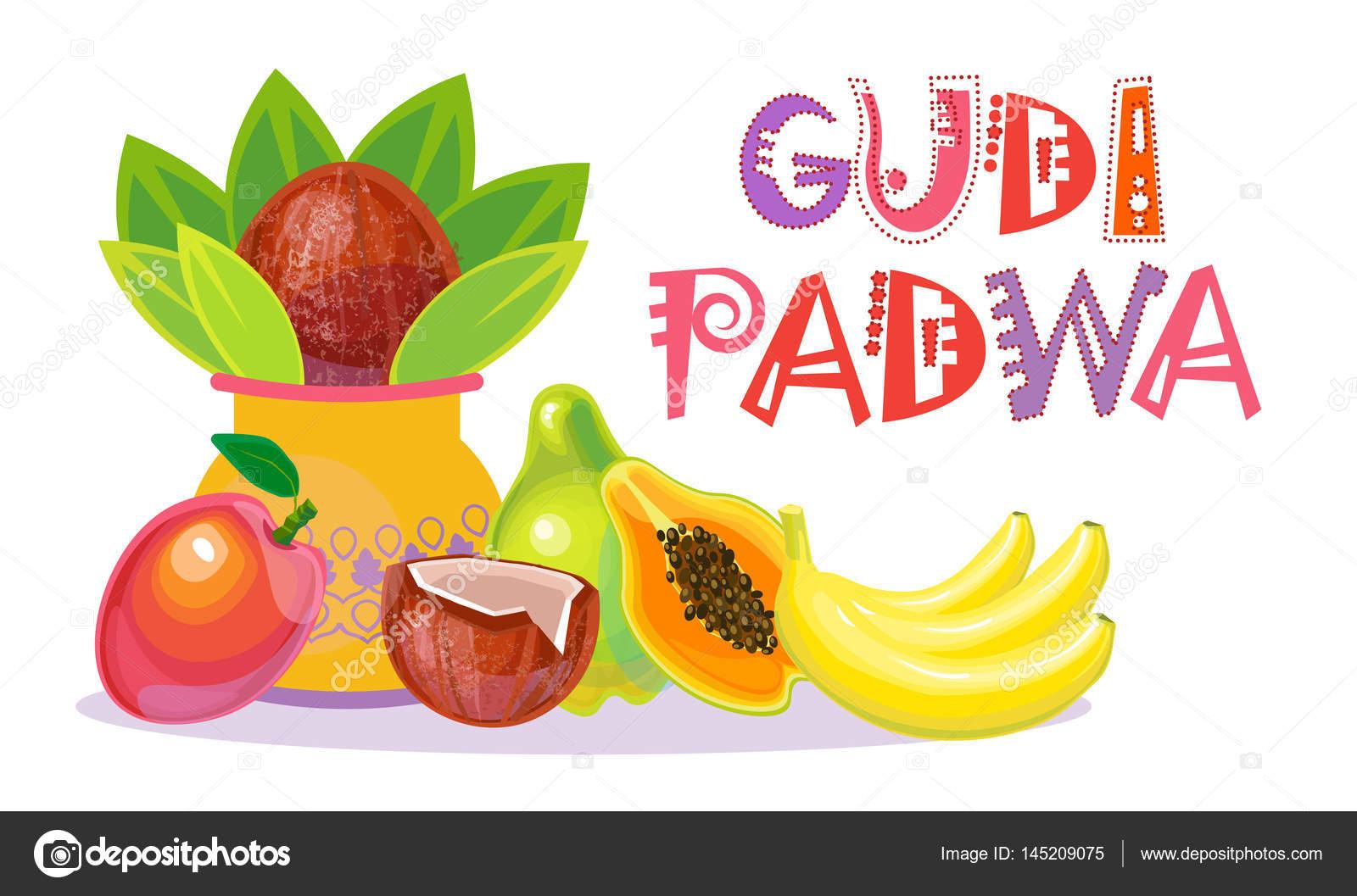 Happy Ugadi And Gudi Padwa Hindu New Year Greeting Card Holiday Pot