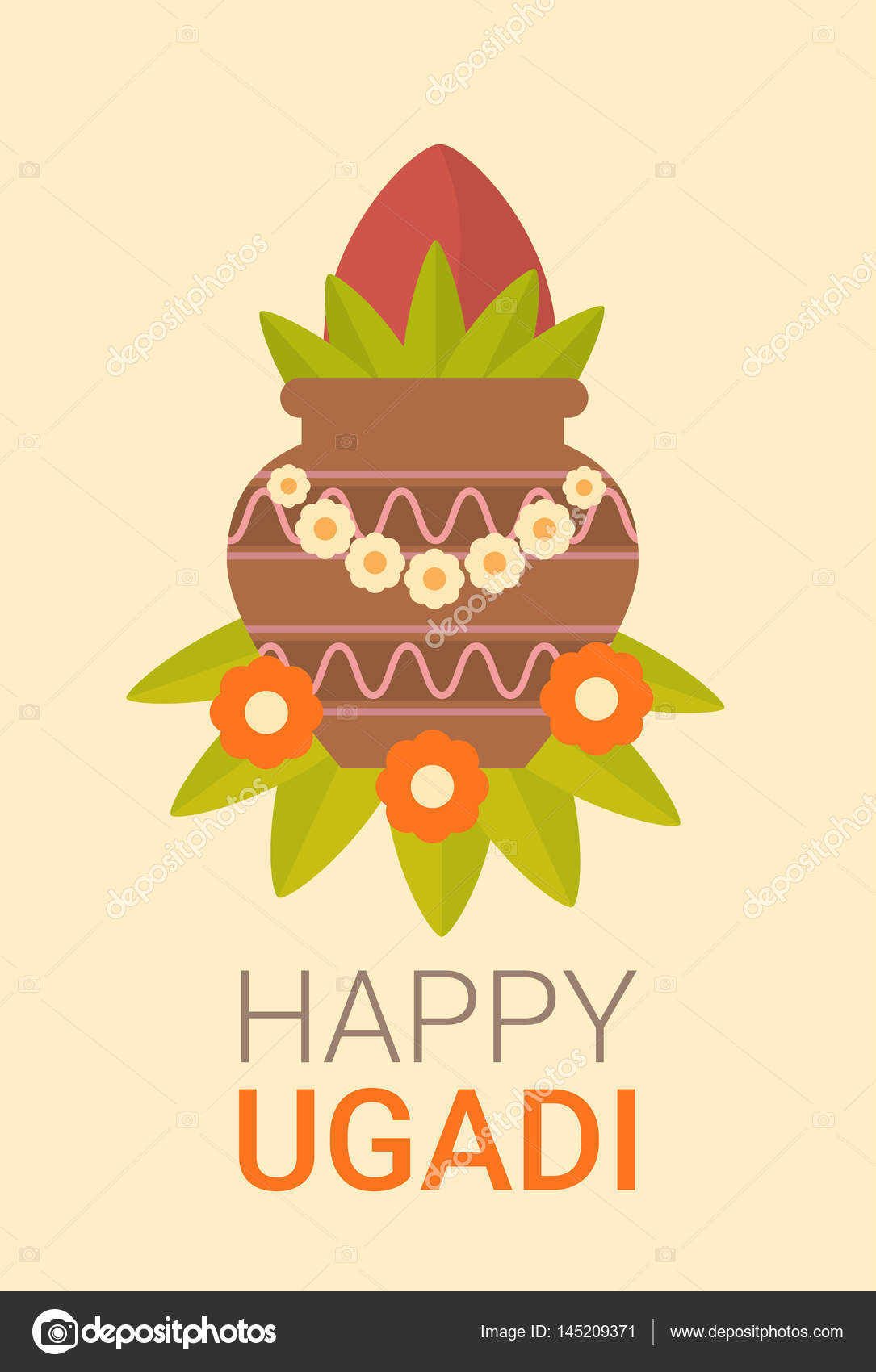 Happy Ugadi And Gudi Padwa Hindu New Year Greeting Card Holiday Pot