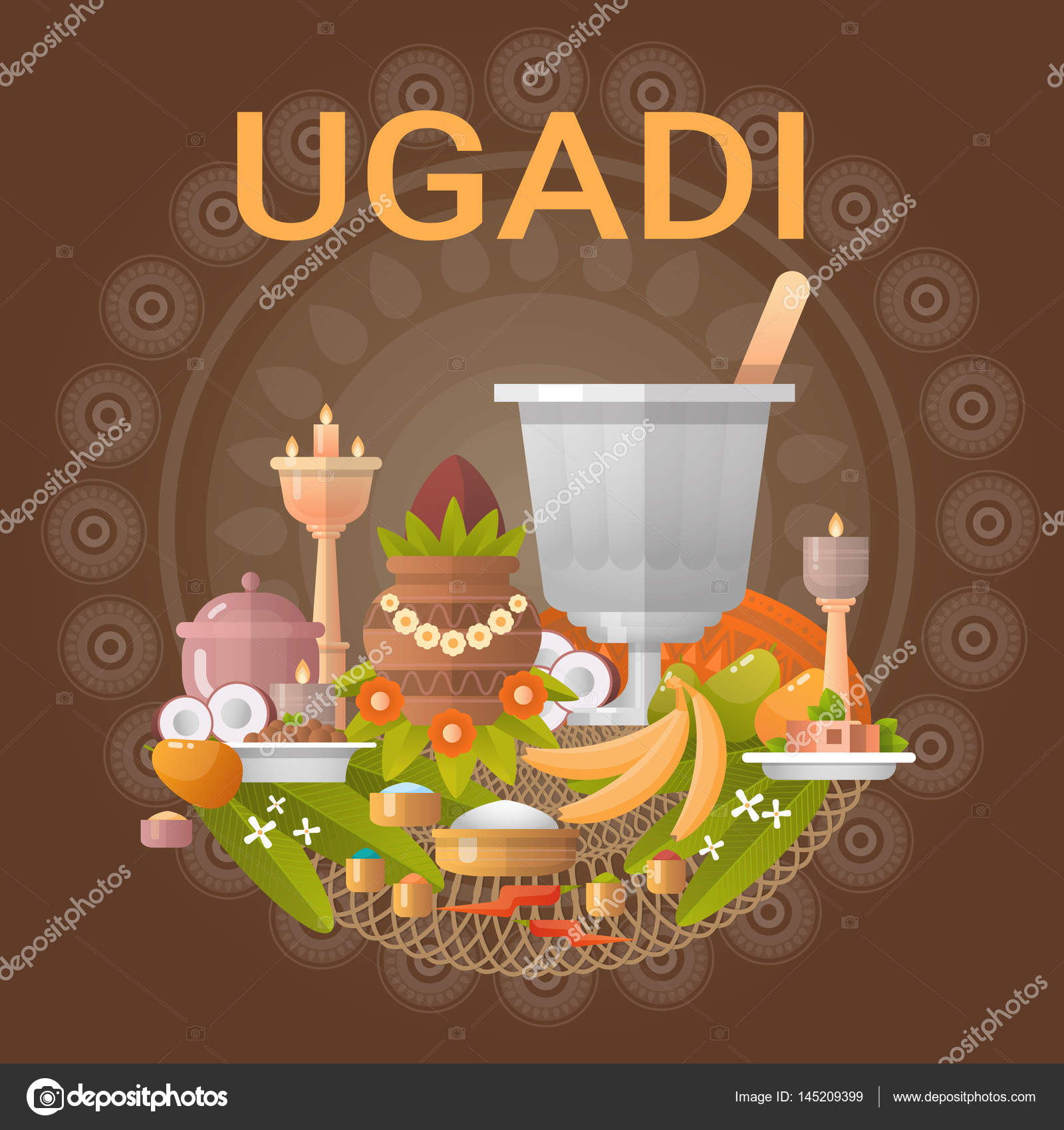 Happy ugadi and gudi padwa hindu new year greeting card holiday happy ugadi and gudi padwa hindu new year greeting card holiday stock vector kristyandbryce Images