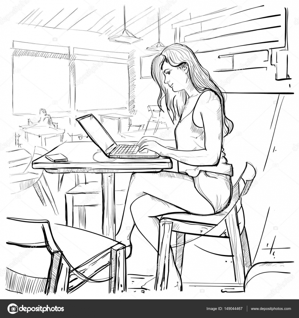 Girl Typing On Laptop Computer Sketch Young Woman Chatting Online Sitting On Chair Living Room