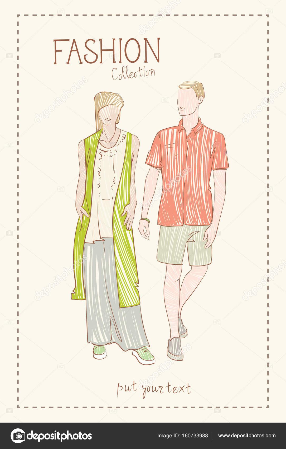 8d7b287ce91e Collezione di moda di vestiti insieme di modelli maschili e femminili
