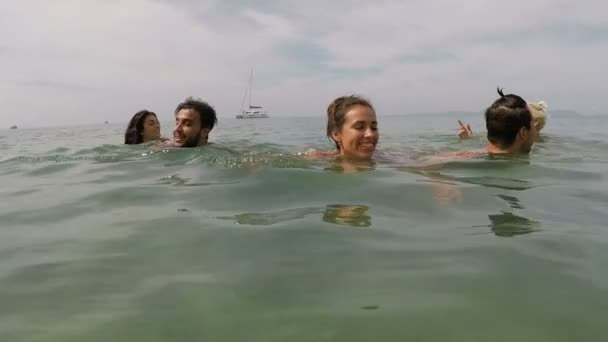 Mix Race People Group Swiming In Sea Together Action Camera Point Of View Young Tourists In Water