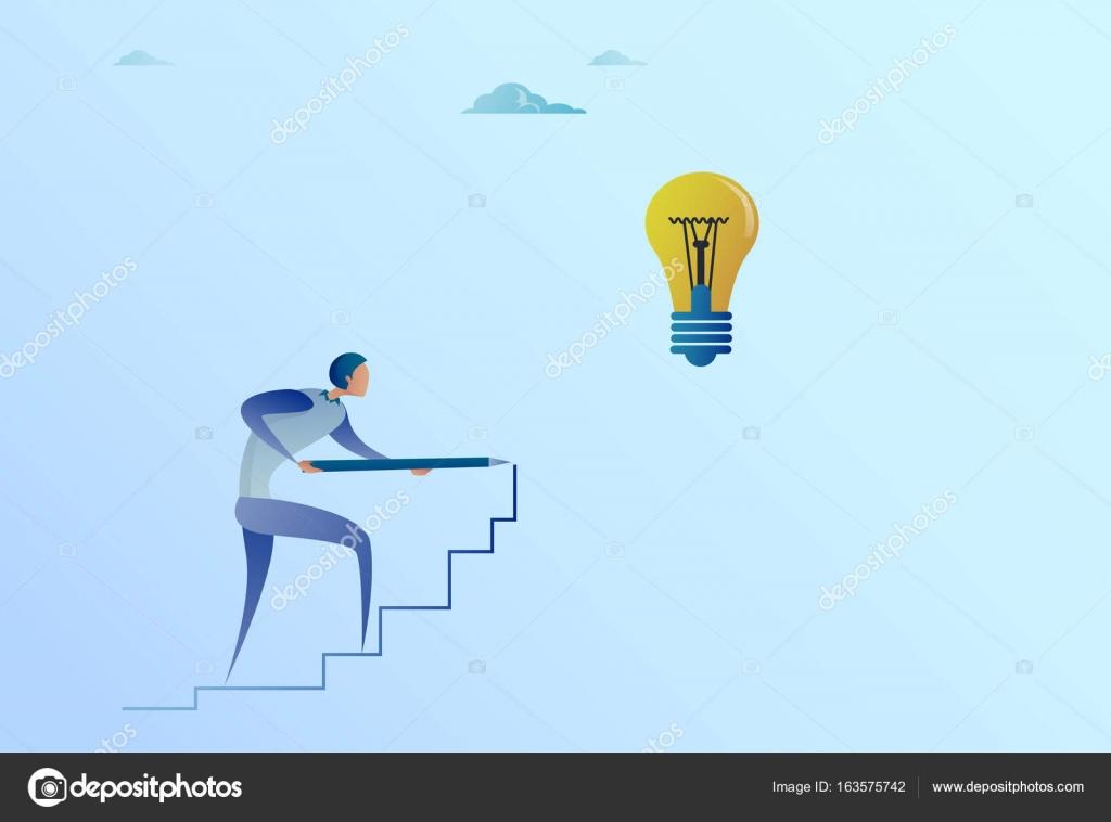 Zakelijke man tekening op trappen tot gloeilamp nieuw idee voor