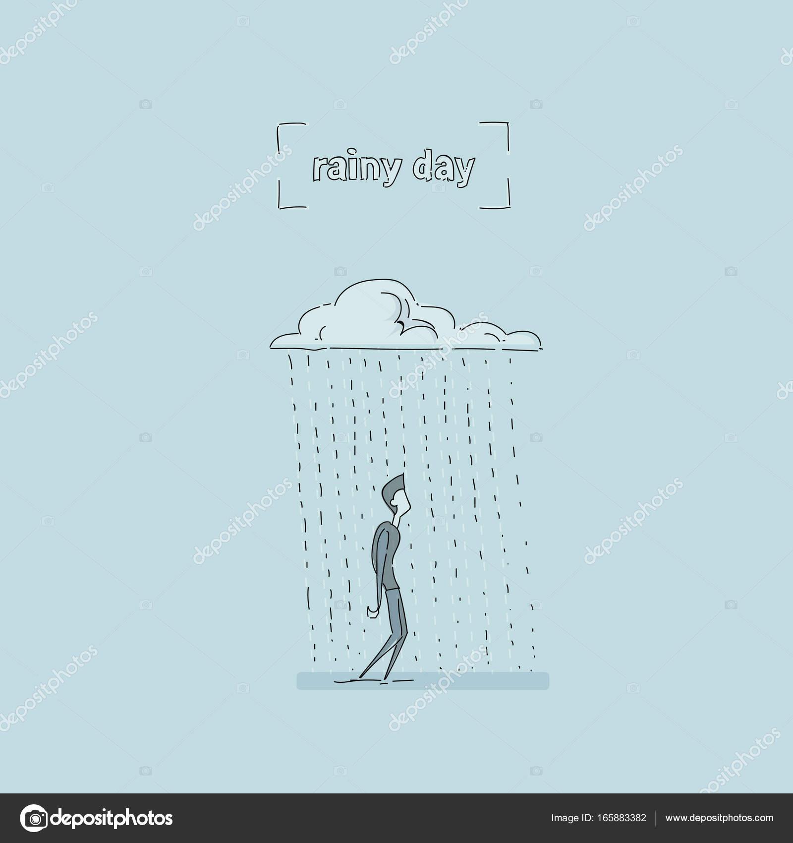 Hombre de negocios de pie bajo la lluvia nube día lluvioso problema ...