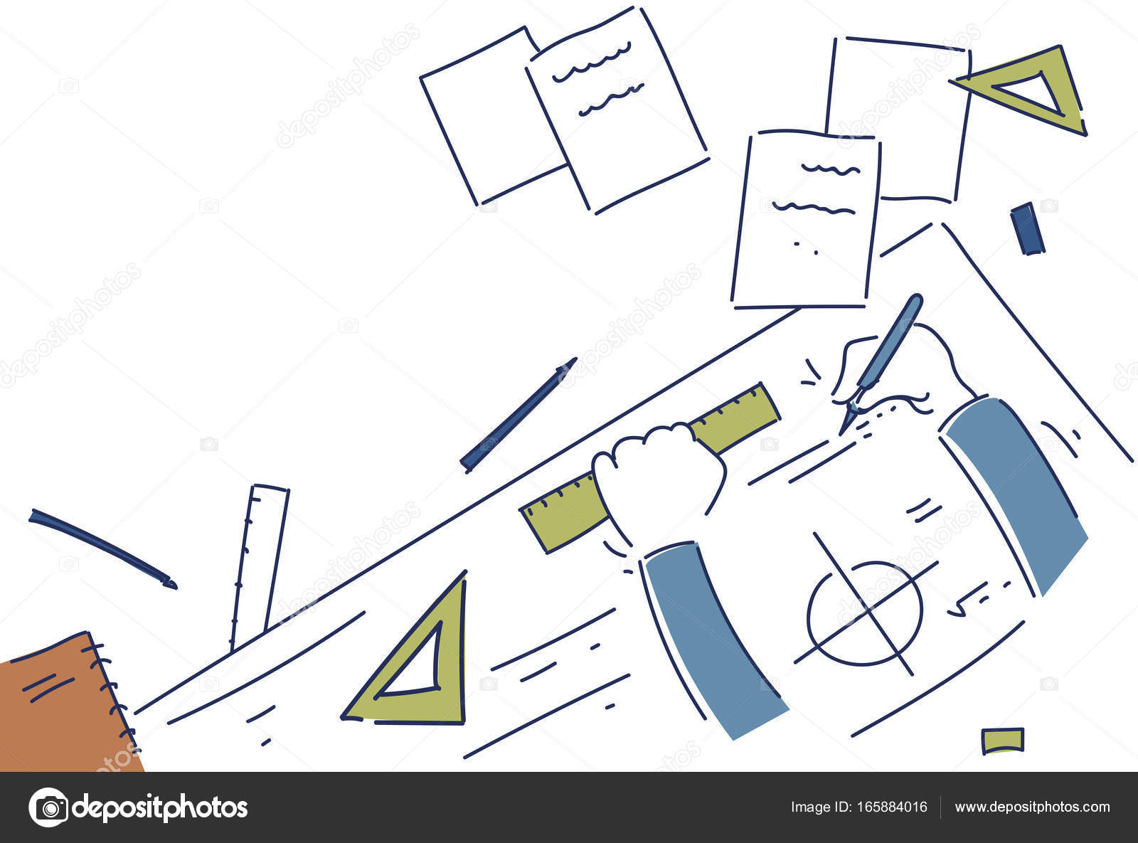 Hands making blueprint design workplace desk top angle view stock hands making blueprint design workplace desk top angle view stock vector malvernweather Image collections