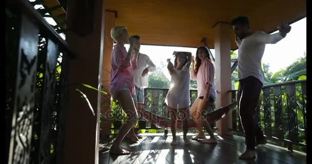 Cheerful Group Of People Dancing On Summer Terrace, Mix Race Young Men And Women Celebrating Together Having Fun Outdoors In Morning