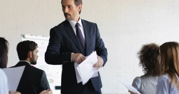 Angry Business Man Not Satisfied With Businesspeople Group Results After Training Seminar During Conference Meeting Education Concept