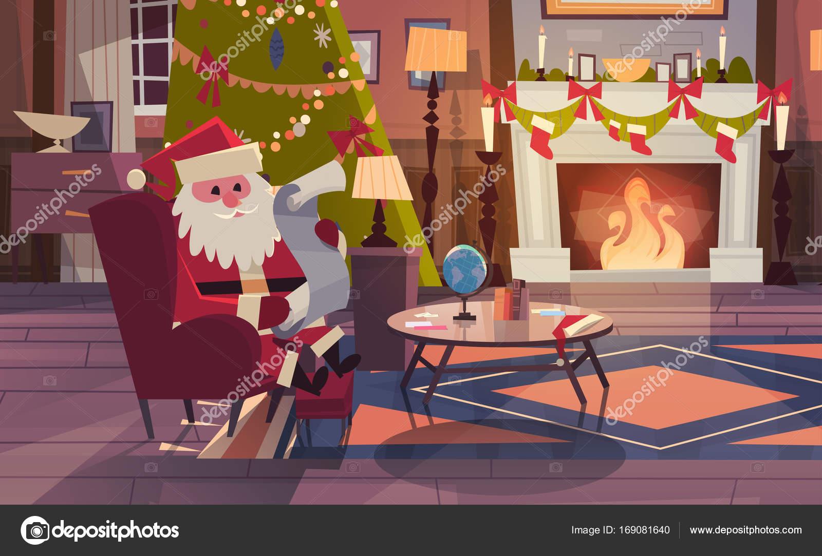 Santa Claus Lesen Wunschliste Sitzen In Der Nähe Von Kamin Im Wohnzimmer  Dekoriert Für Weihnachten Und Neujahr Winter Urlaub Konzept Flache ...