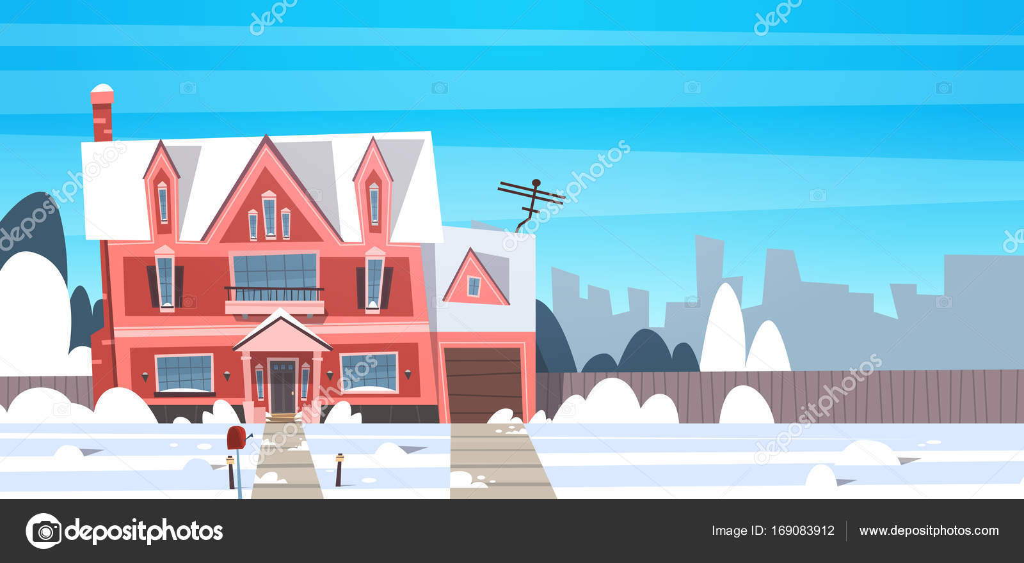 Construction de logements paysage village hiver avec la neige sur ...