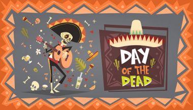 Day Of Dead Traditional Mexican Halloween Dia De Los Muertos Holiday Party Decoration Banner Invitation