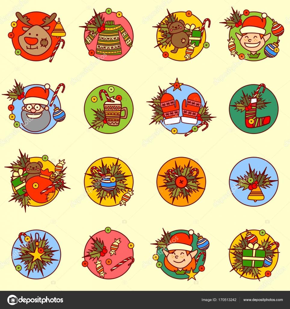 1ea3ff3b5c Χαριτωμένο νέο έτος εικόνες Set καλά Χριστούγεννα έννοιας διακοπές χέρι συλλογή  Χειμώνας — Διανυσματικό Αρχείο