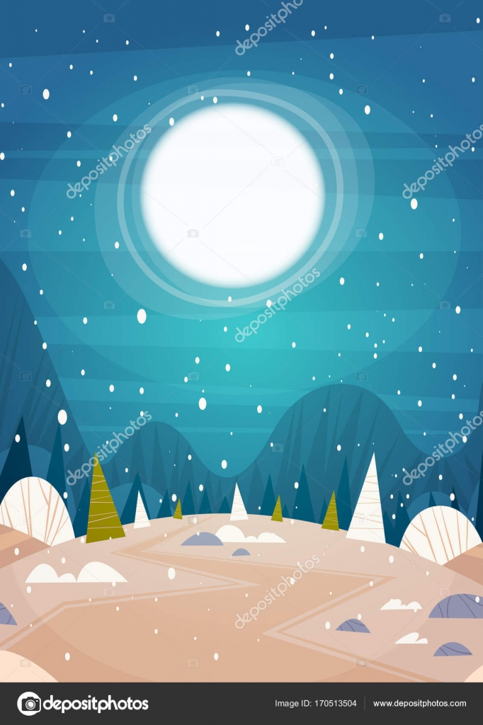 winter forest landscape moon shining over snowy trees merry christmas and happy new year banner
