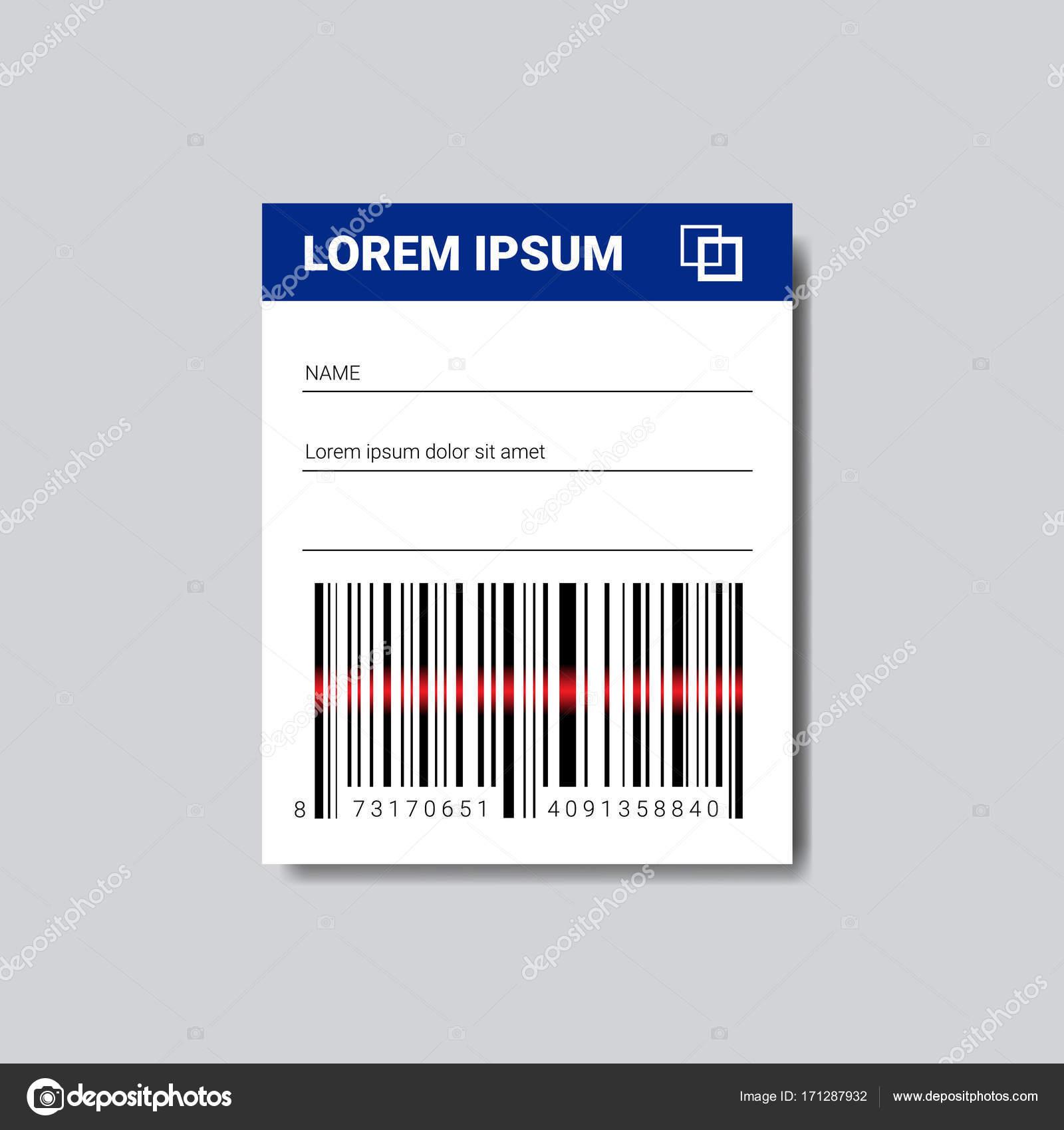 Vorlage-Aufkleber mit textfreiraum und Barcode-Scannen Symbol ...
