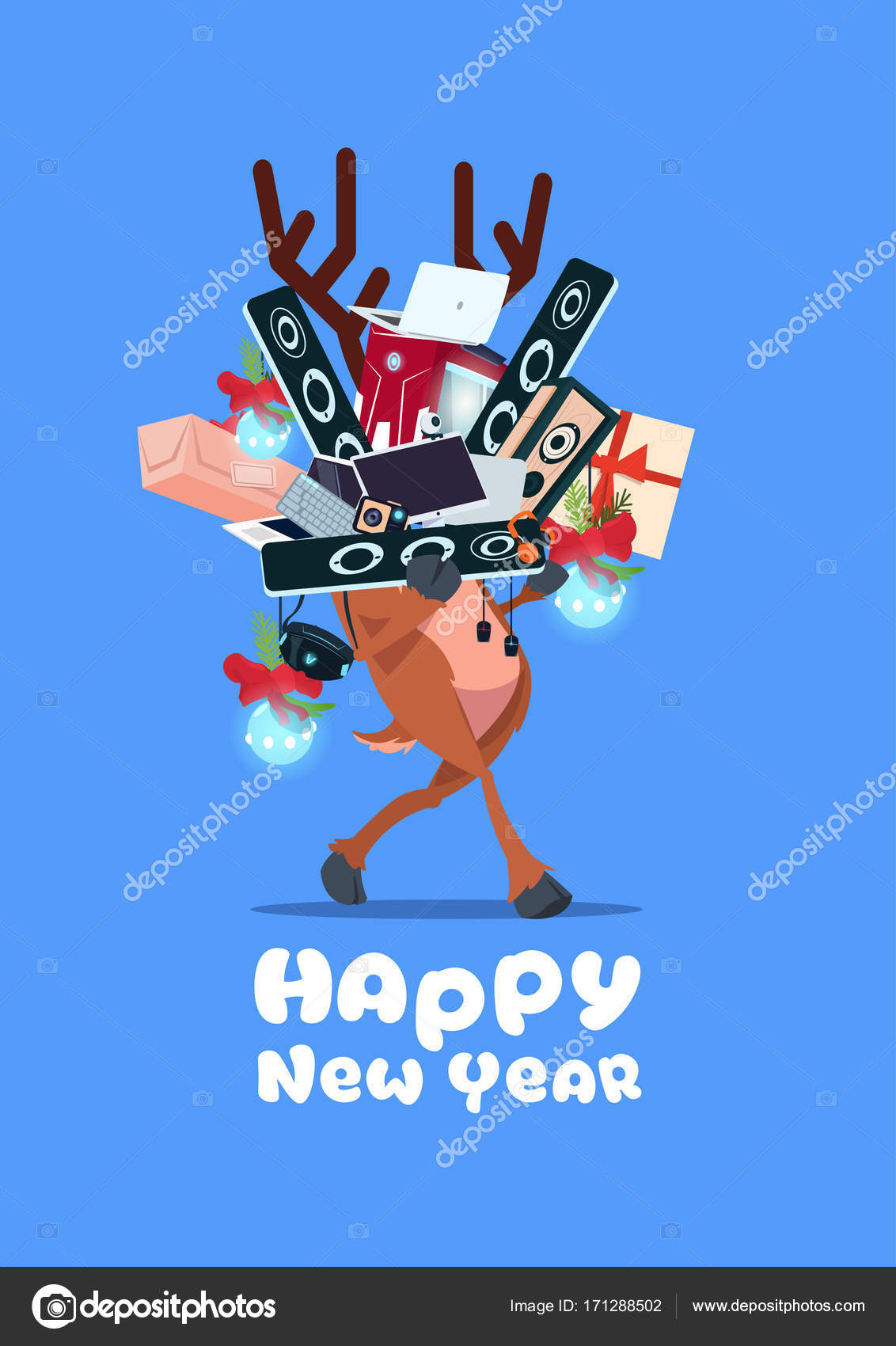 santa claus holding pile of modern electronics gadgets on happy new year banner background stock