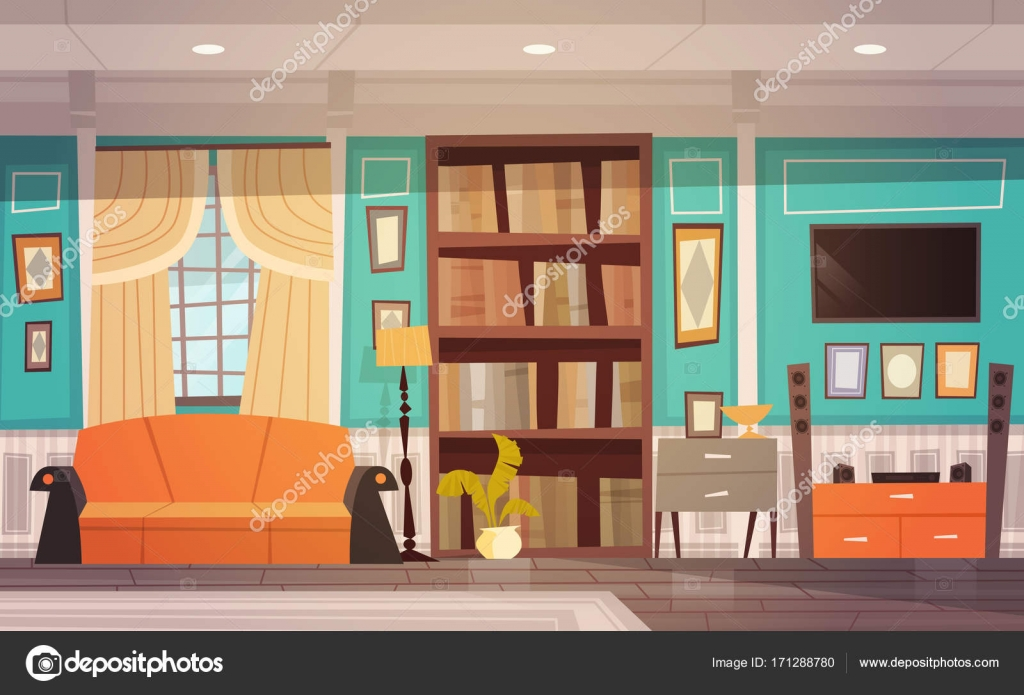 Gemütliches Wohnzimmer Interior Design Möbel, Fenster, Sofa ...