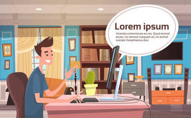 Young Man Working At Computer At Home Banner With Chat Bubble Copy Space From Desktop Monitor Flat Vector Illustration clip art vector