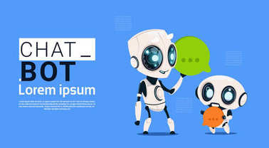 Chat Bot Robots Holding Speech Bubble Banner With Copy Space, Chatter Or Chatterbot Support Service Concept