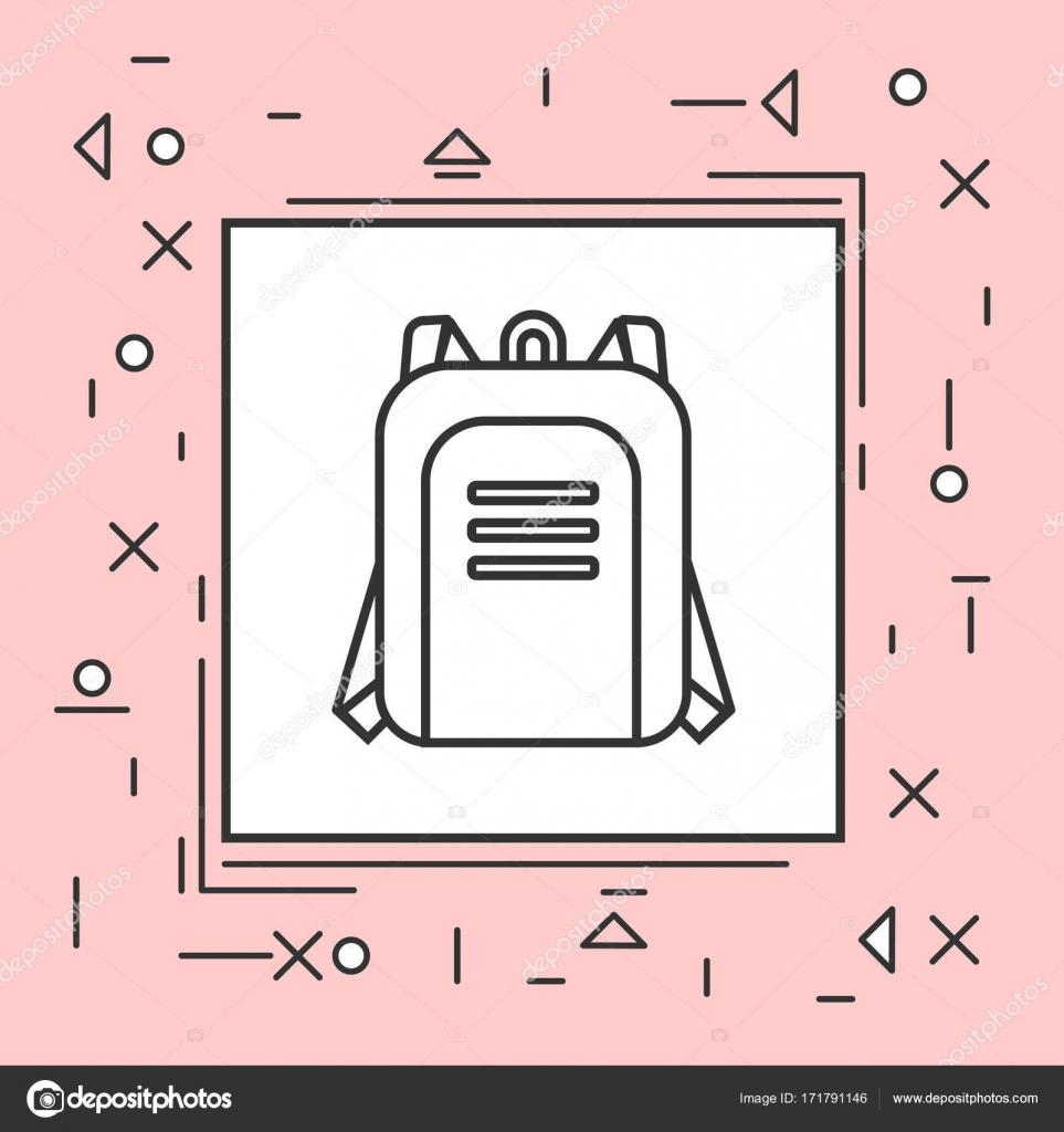 Icono de mochila delgada línea en el marco de la rosa — Archivo ...