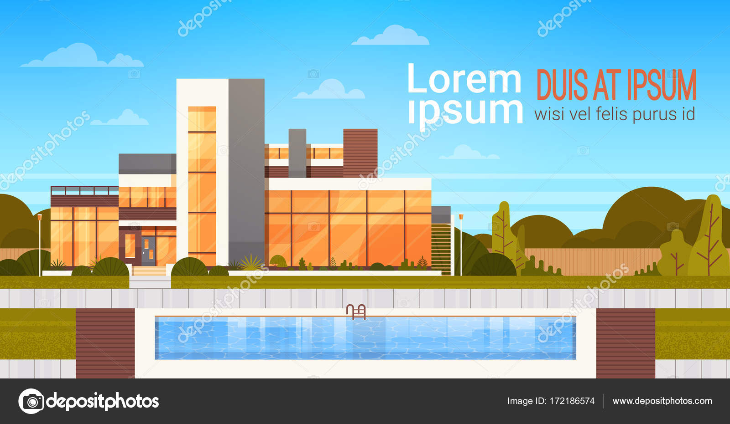 Villa de luxe avec piscine extérieur de bannière maison moderne avec ...
